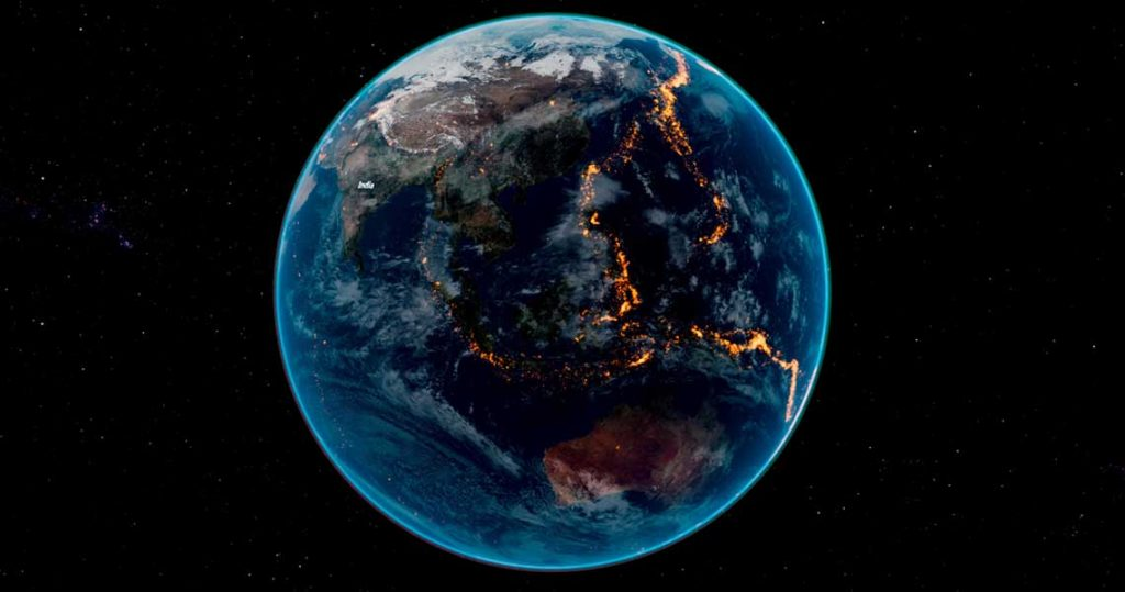 the story of earth 3d - earth with mapped earthquake